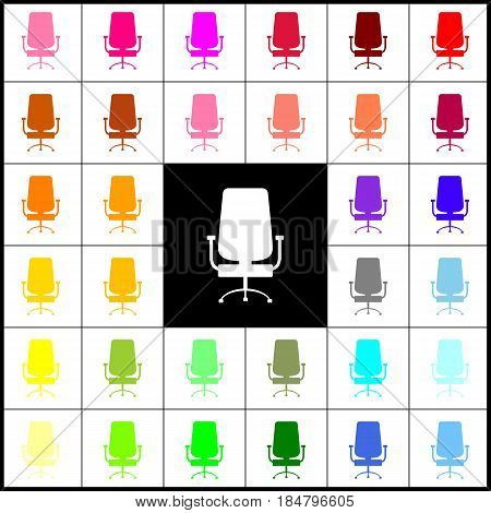 Office chair sign. Vector. Felt-pen 33 colorful icons at white and black backgrounds. Colorfull.