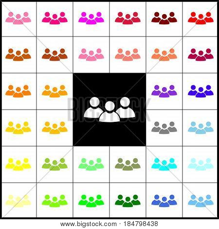 Team work sign. Vector. Felt-pen 33 colorful icons at white and black backgrounds. Colorfull.
