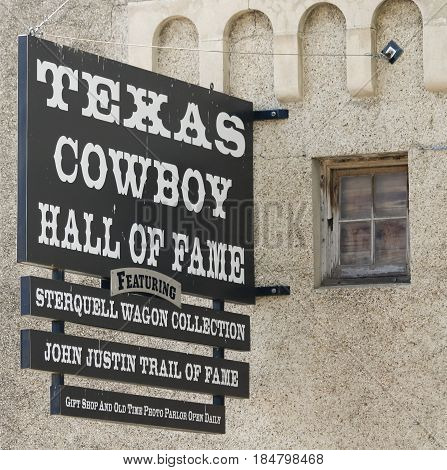 FORT WORTH, TEXAS, MARCH 15. The Texas Cowboy Hall of Fame on March 15, 2017, in Fort Worth, Texas. A Sterquell Wagon Collection at the Texas Cowboy Hall of Fame Sign in the Fort Worth Stockyards in Fort Worth, Texas.