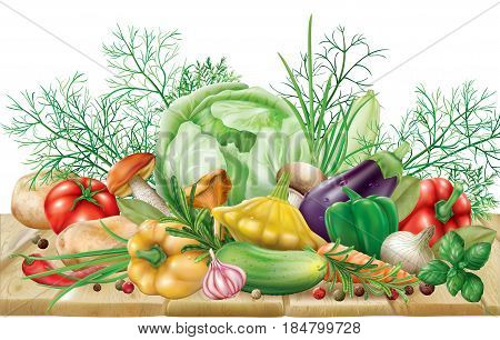 Various vegetables and spices on a wooden surface. vector