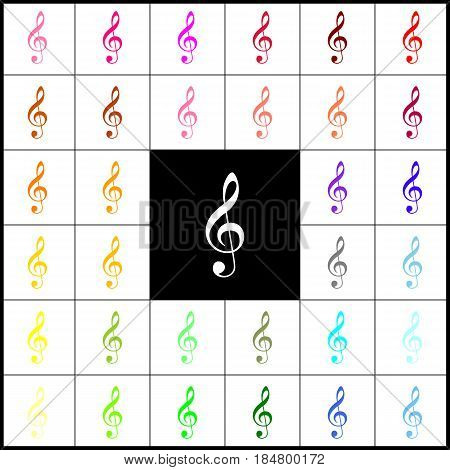 Music violin clef sign. G-clef. Treble clef. Vector. Felt-pen 33 colorful icons at white and black backgrounds. Colorfull.