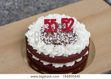 homemade red velvet birthday cake - 55 and 52 years