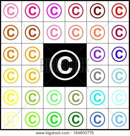 Copyright sign illustration. Vector. Felt-pen 33 colorful icons at white and black backgrounds. Colorfull.
