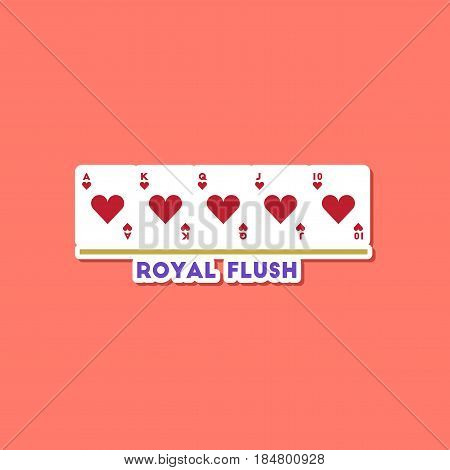 paper sticker on stylish background of poker royal flush