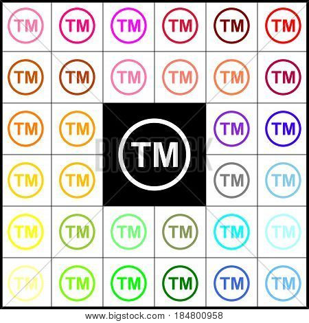 Trade mark sign. Vector. Felt-pen 33 colorful icons at white and black backgrounds. Colorfull.