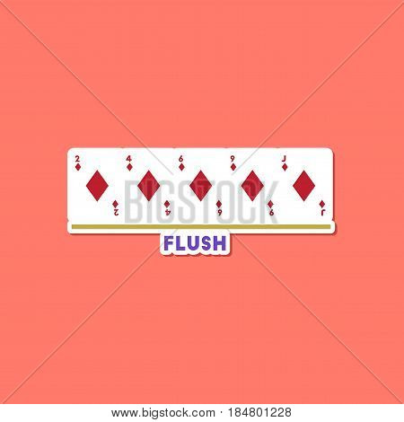 paper sticker on stylish background of poker flush cards