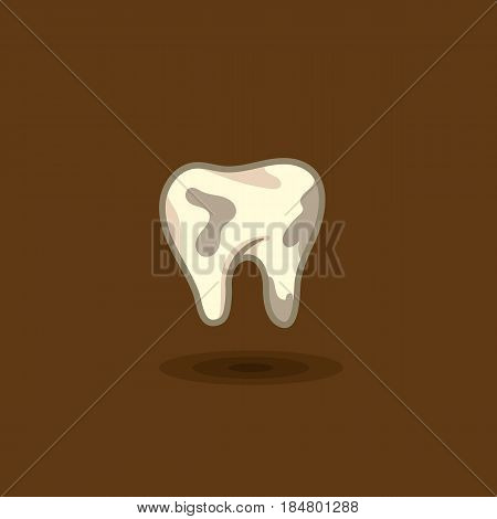 Vector illustration of a tooth man with plaque on a colored background. Illustration of a human tooth dirty icon isolated