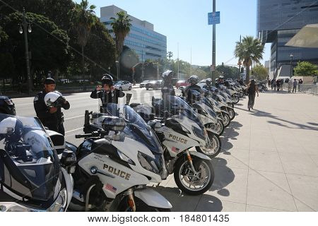 LOS ANGELES California- May 1, 2017: Los Angeles Police prepare to protect everyone as they plan a Protest Rally Against President Donald J. Trump on May 1, 2017 in Los Angeles, California