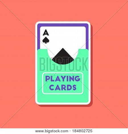 paper sticker on stylish background of playing cards