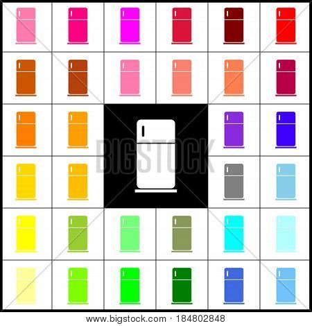Refrigerator sign illustration. Vector. Felt-pen 33 colorful icons at white and black backgrounds. Colorfull.