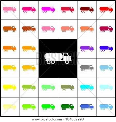 Car transports sign. Vector. Felt-pen 33 colorful icons at white and black backgrounds. Colorfull.