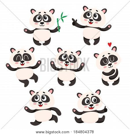 Set of cute smiling baby panda characters - smiling, dancing, jumping, cartoon vector illustration isolated on white background. Cute and fanny panda bear character, mascot collection