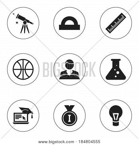 Set Of 9 Editable Education Icons. Includes Symbols Such As Lamp, Semicircle Ruler, First Place And More. Can Be Used For Web, Mobile, UI And Infographic Design.