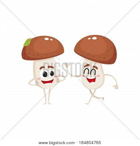 Two funny porcini mushroom characters, one walking, another looking with arms akimbo, cartoon vector illustration isolated on white background. Two porcini mushroom characters, standing and walking