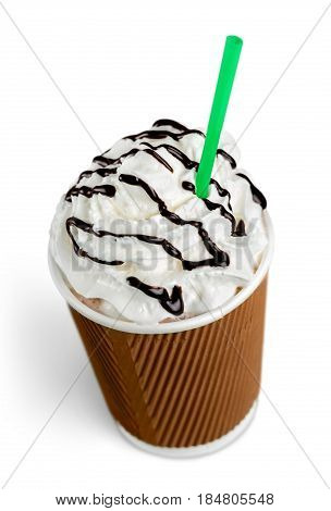 Frappuccino in take away cup with straw on white background