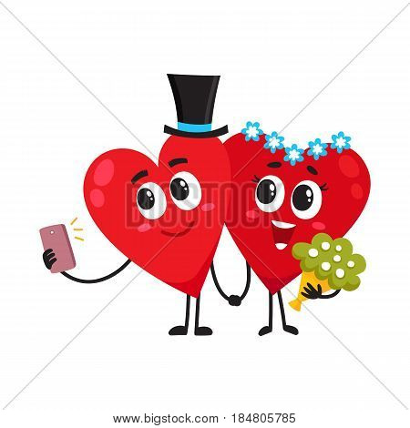 Two hearts dressed as bride and groom, holding hands, making selfie, couple in love, wedding concept, cartoon vector illustration on white background. Cute, funny couple of hearts having wedding
