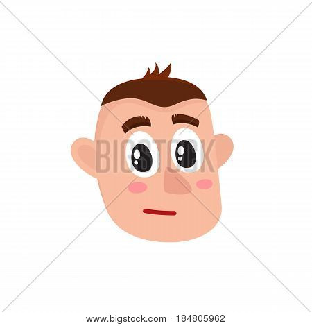 Male head with troubled, confused, worried face expression, big eyes, raised eyebrows, cartoon vector illustration on white background. Funny cartoon male head with neutral, worried face expression