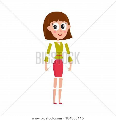 Woman character creation set with separate head, body, arm, leg details, cartoon vector illustration isolated on white background. Funny, pretty woman, girl creation set with moving arms and legs