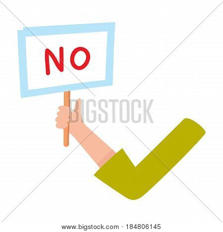 Female arm, hand in business suit sleeve holding NO sign, showing failure, denial, cartoon vector illustration on white background. Funny cartoon male arm showing yes sign, plate