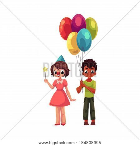 Black boy with bunch of balloons and caucasian girl in birthday cap, cartoon vector illustration isolated on white background. Two kids, boy and girl, holding birthday balloons and star stick