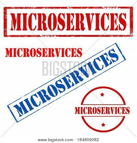 Set of stamps with text Microservices,vector illustration
