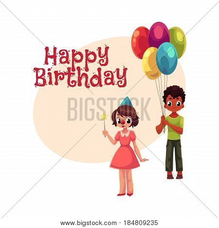 Happy birthday vector greeting card, poster, banner design with Black boy with bunch of balloons and caucasian girl in birthday cap. Two kids, boy and girl, holding birthday balloons and star stick