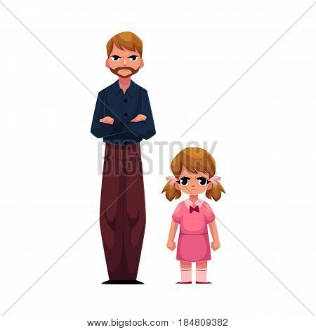 Young man and little girl, father and daughter standing with frowned, angry faces, cartoon vector illustration on white background. Frowning father and daughter standing angry with each other