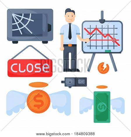 Crisis symbols concept and problem economy banking business finance design investment icon vector illustration. Bankruptcy exchange depression credit recession falling sign.