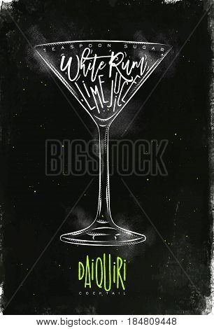 Daiquiri cocktail lettering teaspoon sugar white rum lime juice in vintage graphic style drawing with chalk and color on chalkboard background