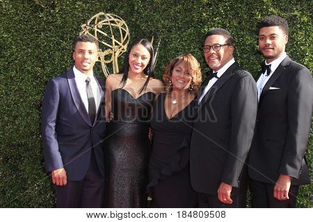 PASADENA - APR 28: Judge Greg Mathis, Family at the 44th Daytime Creative Arts Emmy Awards Gala at the Pasadena Civic Center on April 28, 2017 in Pasadena, California