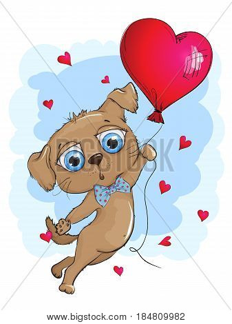 Cute puppy flying in a balloon. Puppy with big blue eyes. Balloon in the shape of a heart