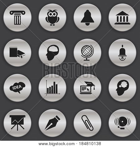 Set Of 16 Editable School Icons. Includes Symbols Such As Pillar, Ring, Cerebrum And More. Can Be Used For Web, Mobile, UI And Infographic Design.