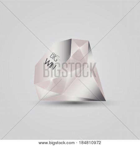 Vector illustration: platinum coloured gem engraved with text Big Win. Great for slots, casino, poker rooms, roulette, card games, etc. Big Win concept sign.