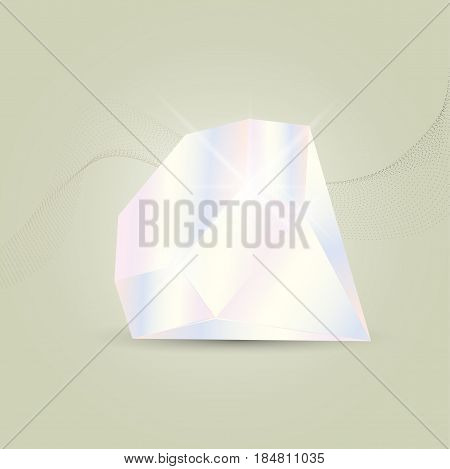 Vector illustration of a diamond gemstone on a modern abstract flowing particle waves background.
