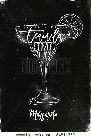 Margarita cocktail lettering orange liqueur tequila lime juice in vintage graphic style drawing with chalk on chalkboard background
