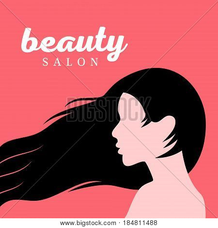 Beautiful Girl with long hair Profile. Flat art style. Beauty salon card, poster. Vector illustration.
