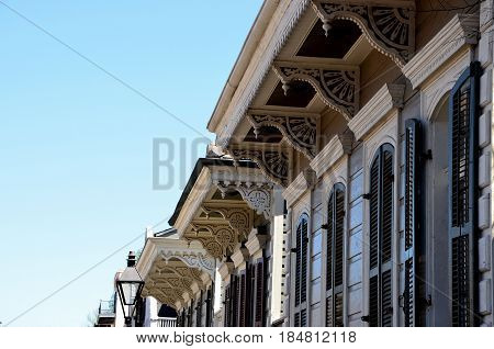 Architecture of the French Quarter in New Orleans Louisiana.