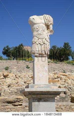 Roman sculpture in Archaeological site of Torreparedones. Cordoba. Spain