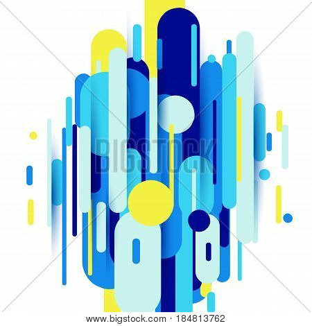 Vector illustration of dynamic composition made of various colored rounded shapes lines in rhythm. Minimalistic motion design