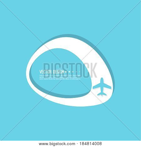 Abstract geometric shape banner with icon airplane. Vector frame speech bubble. Air text box. Aeroplane textbox. Blue.