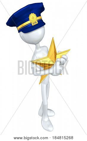 Police Officer With Star The Original 3D Character Illustration