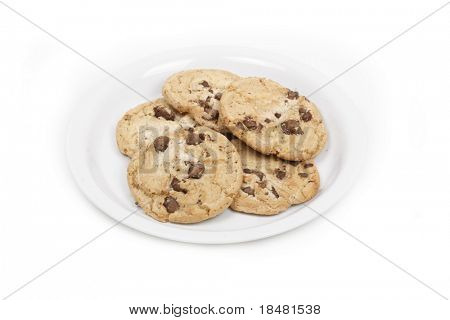 Chocolate chip cookies on isolated background.