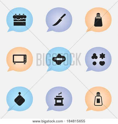 Set Of 9 Editable Cook Icons. Includes Symbols Such As Oven, Sword, Saltshaker And More. Can Be Used For Web, Mobile, UI And Infographic Design.
