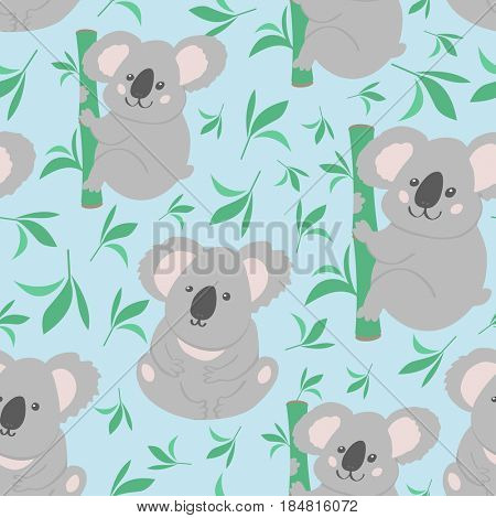 Cute bear koala doodle  pattern. Nature background with koalas can be used for baby taxtile, tshirt, wallpapers, posters and more