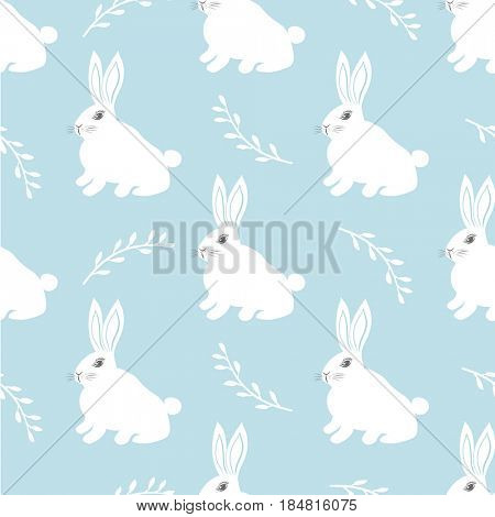 Seamless hare pattern. Cute little Bunny on a blue background. Cute rabbit vector design for fabric and decor.
