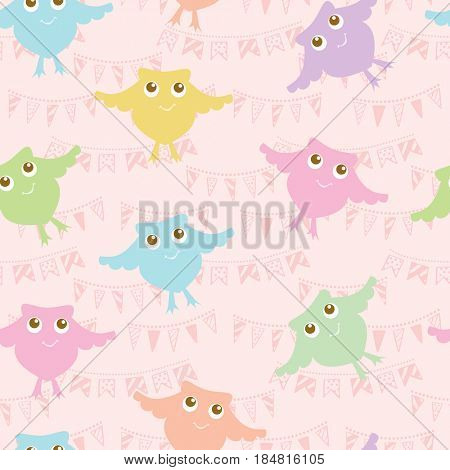 Pastel colors  owls pattern. Baby cute cartoon birds background. Can be used for textile, bed lining, baby clothing. cards and wrapping paper.
