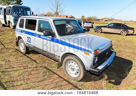 Samara Russia - April 30 2017: Russian police patrol vehicle parked up at the outdoors in summer day