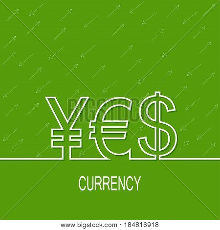 Abstract green background with yen,dollar, euro. For financial reporting, revenue growth, earnings, advertising contribution, add deposits and loans