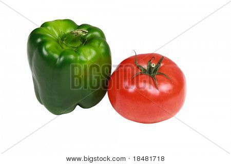 Isolated green pepper and tomato