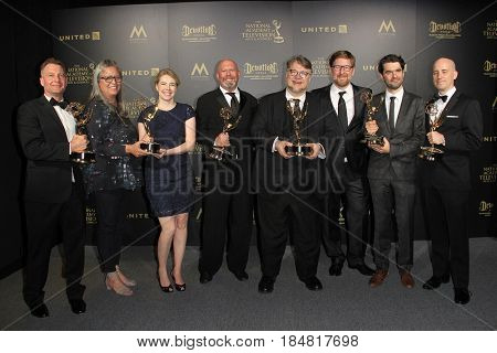 PASADENA - APR 28: Guillermo del Toro, Rodrigo Blaas, Trollhunters at the 44th Daytime Creative Arts Emmy Awards Gala at the Pasadena Civic Center on April 28, 2017 in Pasadena, CA